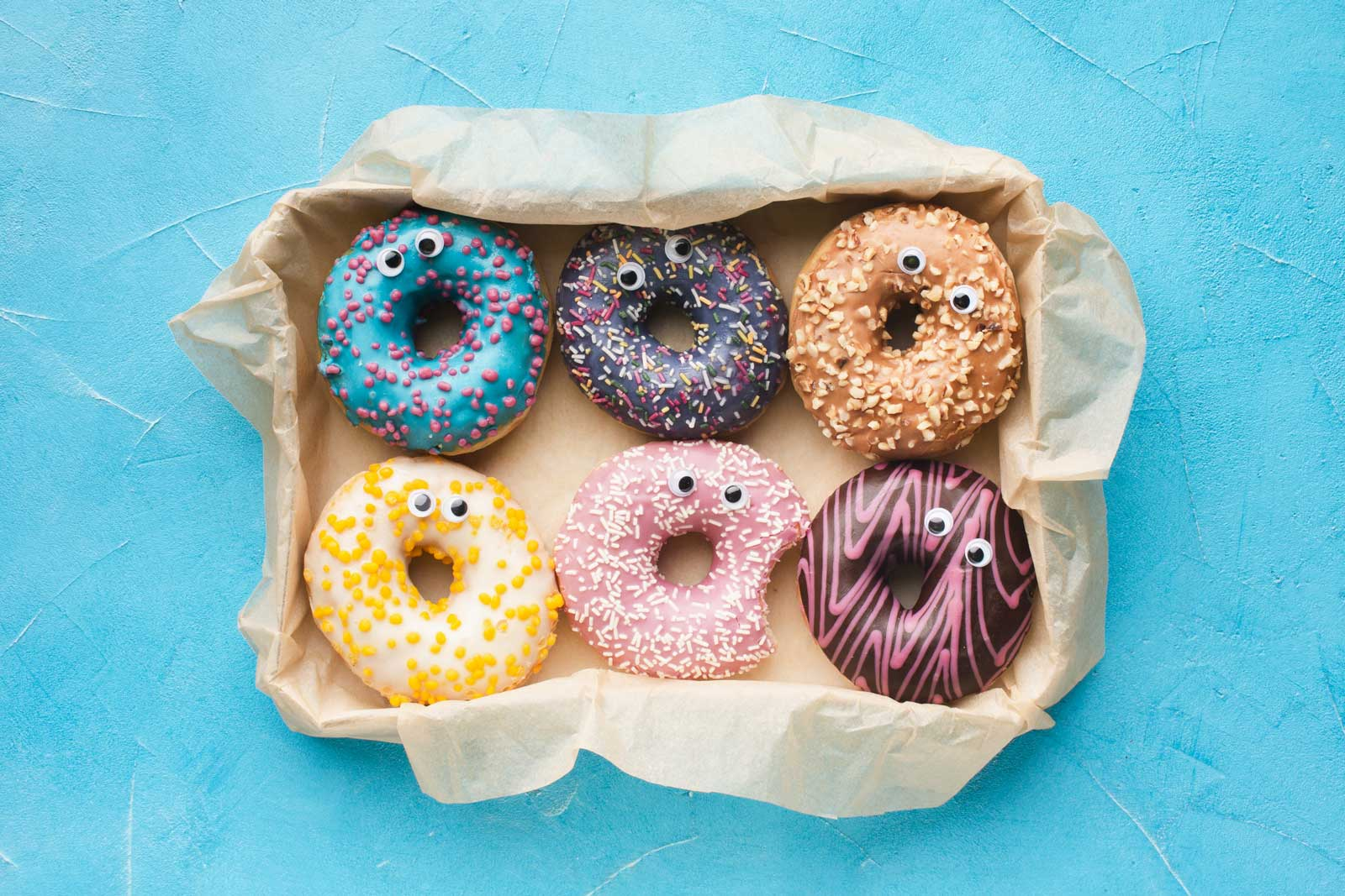 glazed donuts with googly eyes